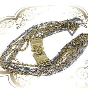Cathe Gold Silver Long Chain Multi Strand Necklace